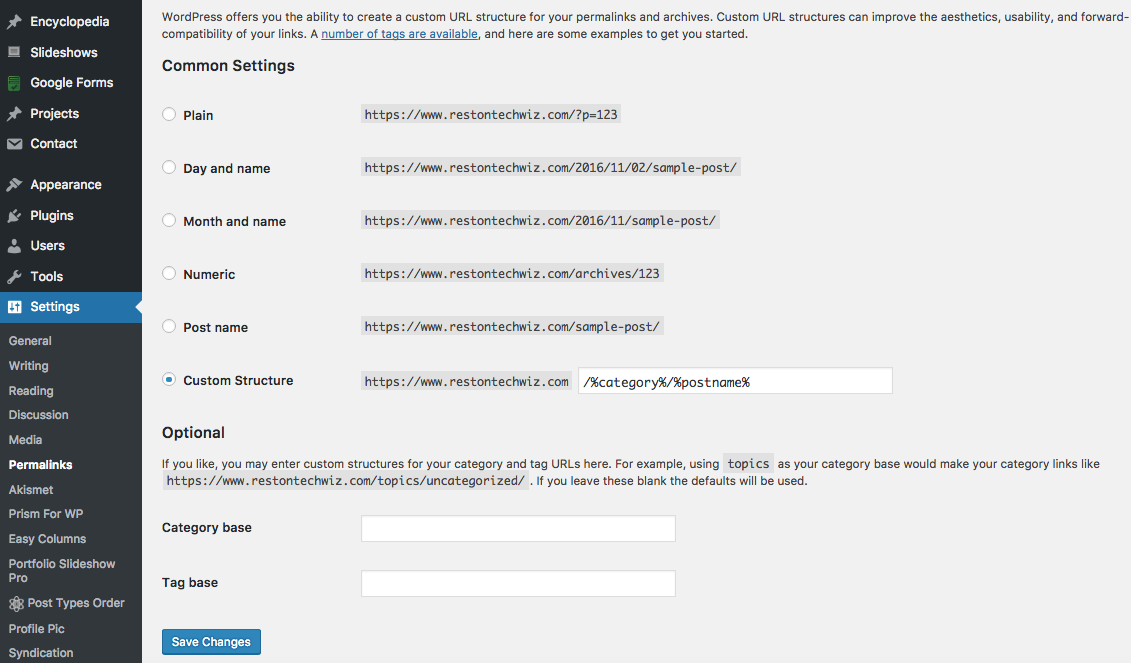 WordPress Permalink Settings Area