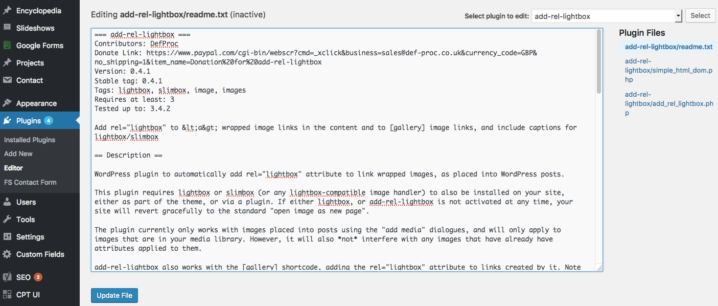 A view of the WordPress plugin editor.