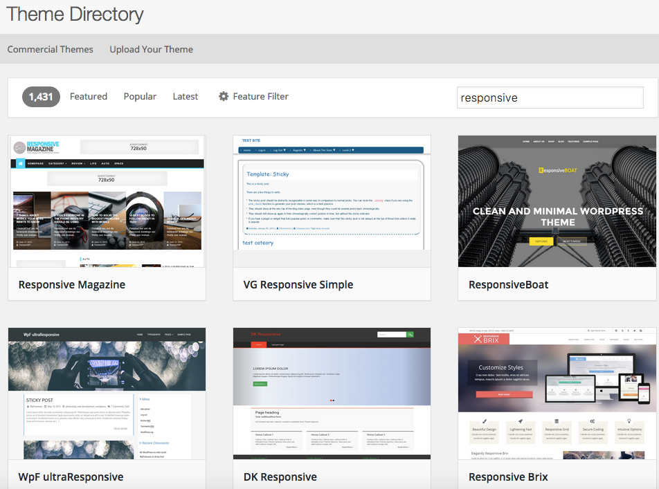 Responsive themes in the WordPress Theme Directory.