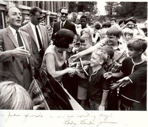Lady Bird Johnson and a younger Robert E Simon in Reston Past (courtesy of Jon Querolo)